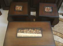 طاولة وسط مع 2 طاولتين جانبية مودرن لون بني غامق