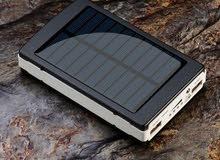 SOLAR POWER BANK 20000 MAH 2 USB PORTS LED LIGHT بور بانك شاحن خلوي وتابلت على الطاقه الشمسيه