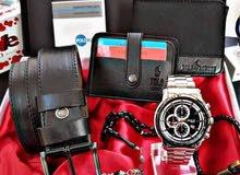 ساعة حزام محفظة اكسسوار يد و سبحة الكل في بوكس واحد