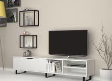 طاولة تلفزيون  بلون ابيض  ولون بني