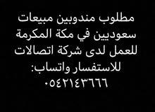 مطلوب مناديب مبيعات سعوديين لشركة إتصالات