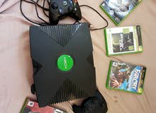 xbox with controllers and games for sale