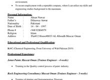 Chemical Engineer with 1 year experience
