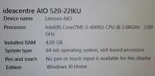 lenovo AIO computer