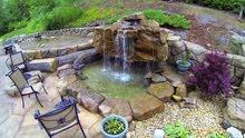 انشاء الحدائق وتنسيقها وانشاء حمامات السباحه والملاعب والجلسات والنوافير