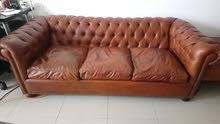 صوفا عدد 2 مع مقعد جلد طبيعي