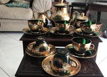 طقم شاي كريستال بوهيمي مذهب