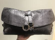 Original Black Python Ferragamo clutch Excellent condition