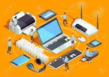 اي عمل في محلات بيع الاجهزة الالكترونية  ومعدات والانترنت