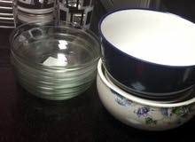 tea set , dinner set, water glasses 80 aed for all