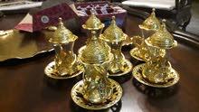 طقم كاسات شاي تركي عثماني مع صنينه جديدة