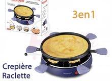الجهاز المميز 3 في 1 للراكليتي والكريب والشواء من تيكوود Raclette Crêpière 6 per