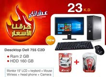 DISKTOP DELL CORE 2 DUO / RAM 2GB / HARD DISK 160 GB /MONITOR 19 INCH LCD