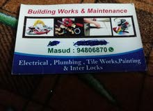 Plumbing, Tiles fitting,Electrical,Painting  n all building maintance works