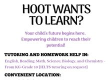 Tutoring/ Homework Help Available for Students from KG - Grade 10