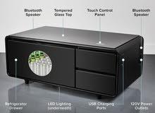 طاولة الذكية تعمل باللمس مع بابين للثلاجة، بلوتوث، مشغل موسيقى، شاحن USB،