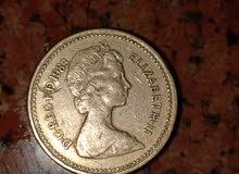 عملة اجنبيه قديمهONE POUND انجلترا بحالة جيدةالملكة اليزابيث