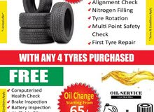 Engine Oil Change with filter 65/- Dhs & Tyre 99/- Dhs