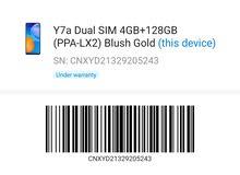 y7a 128gb ans ram 4gb used only 3weeks  under warranty