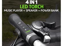 Amazing Multi function  LED torch + MP3 player + speaker + power bank + bike holder