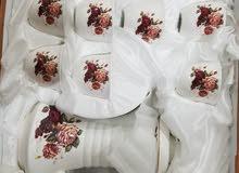 طقم فناجين قهوة عربي مع دلة زجاج بنقشة الورد