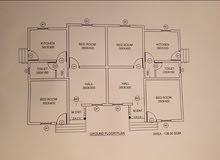 شقتين مساحة كل واحدة 70 متر مربع الاجمالي 140 متر مربع. مع فناء خارجي الامام 2 متر والجوانب 2 متر.