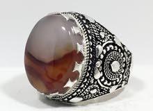 خاتم عقيق يماني مزهر غاية في الروعة