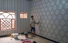 عمل ورق الجدران وانواع الاصباغ  وعمل الديكورات وسحب الجدران بالمعجون وتغليف جدار