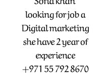 sofia khan looking for job Digital marketing