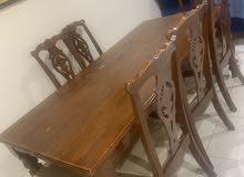 طاولة سفرة خشب زان 7 كراسي وكراسي مغلفة بلاستيك