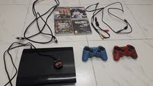 ps3 super slim 500Gb +2 controls +4 games (excellent condition) حالة ممتازة