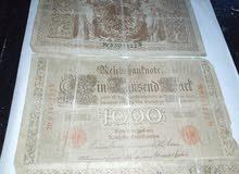 ثلاث ورقات فرنك الماني عهد القيصر سنه 1910