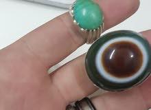 خاتم فضة حجر عقيق طبقي نادر جدا