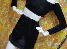 فستان طقم قطيفه صافي جمله فقط