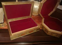 صندوق / علبة خشب زان موزاييك فسيفساء مرصع بالصدف صناعة يدوية من الشام