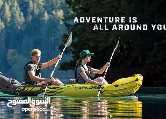 Intex Explorer K2 - 2 Persons Inflatable Kayak Set with Aluminum Oars and High Output Air Pump