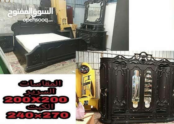 للبيع غرفة نوم زوجي صناعة وخشب في حالة ممتازة مقاس السرير 200X200 و مقاس الخزانة