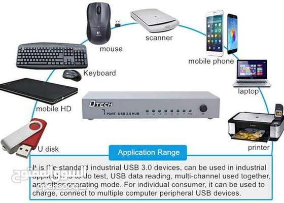 موزع  DTECH USB 3.0 7PORT وكالة