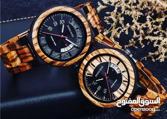 ساعة خشبية بحزام خشبي للرجال والنساء