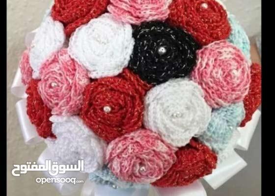 بوكيه بالكروشيه تحفه لاصحاب الذوق الرفيع وللهدايا
