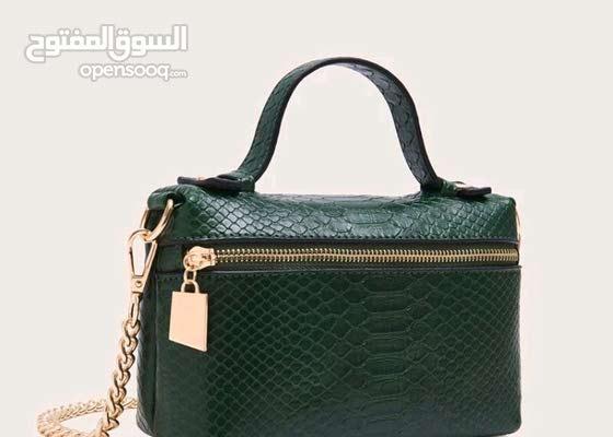 حقيبة ساتشل بنقش جلد ثعبان - أخضر داكن