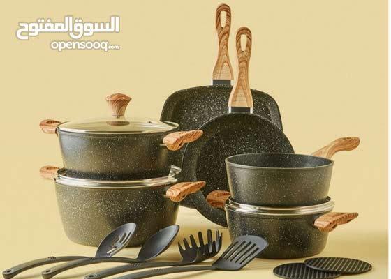 طقم اواني طهي (15 قطعه) الألمنيوم مطلي بالجرانيت