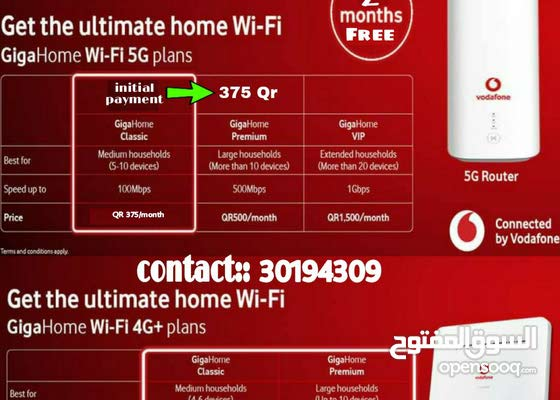 Vodafone 5G home wifi connection with 2 months full free offer.