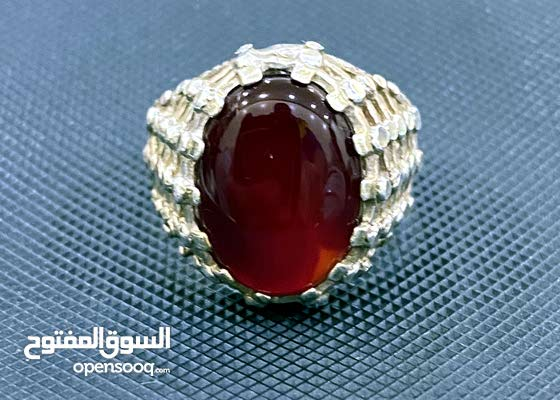خاتم عقيق يماني احمرر