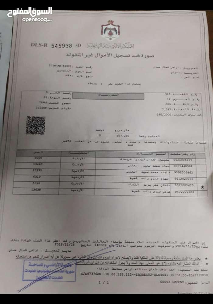 قطعه ارض في شفا بدران بالقرب من جامعه العلوم للبيع مفروزه وسوف تدخل التنظيم
