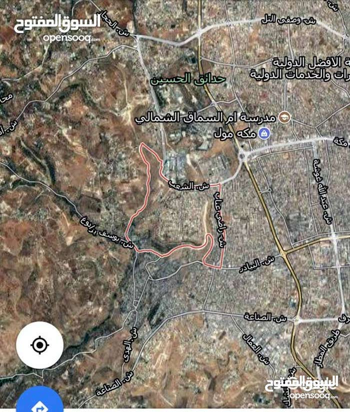 ارض مساحة 1080 متر على شارعين بالكرسي تصلح اسكان