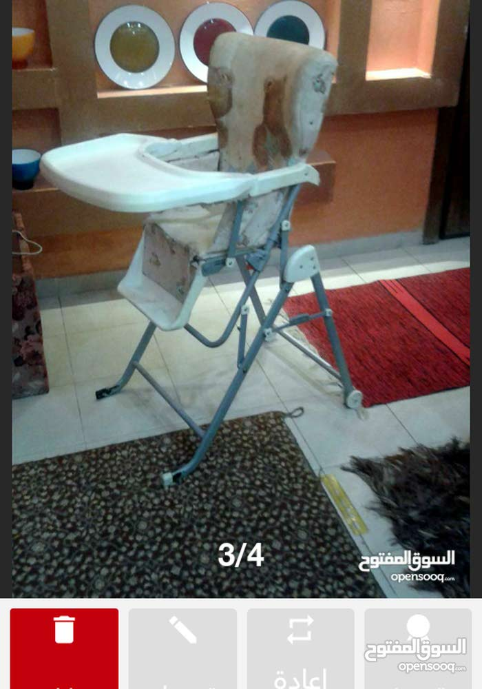 كرسي طعام حركتان للأطفال للبيع مستعمل إستعمال بسبط