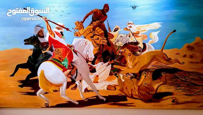 لوحة فنية.بألوان زيتية أصلية (رحلة صيد  الأسود)