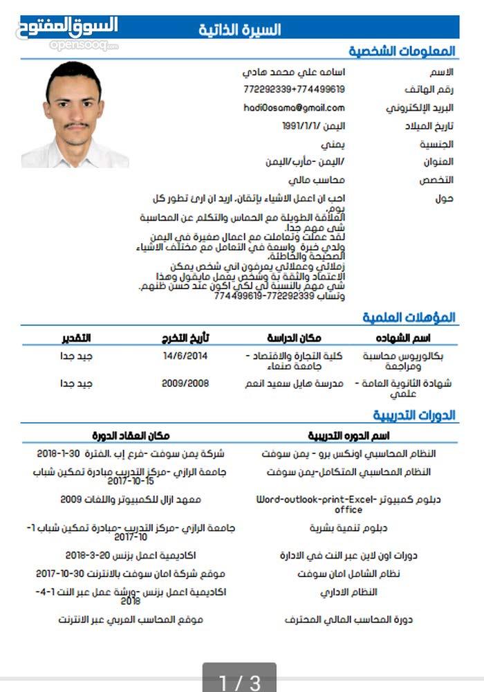 محاسب يمني يبحث عن عمل