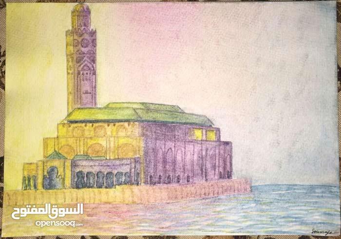 رسمتان بالغواش لمسجد الحسن الثاني الدار البيضاء و زنقة في مدينة شفشاون